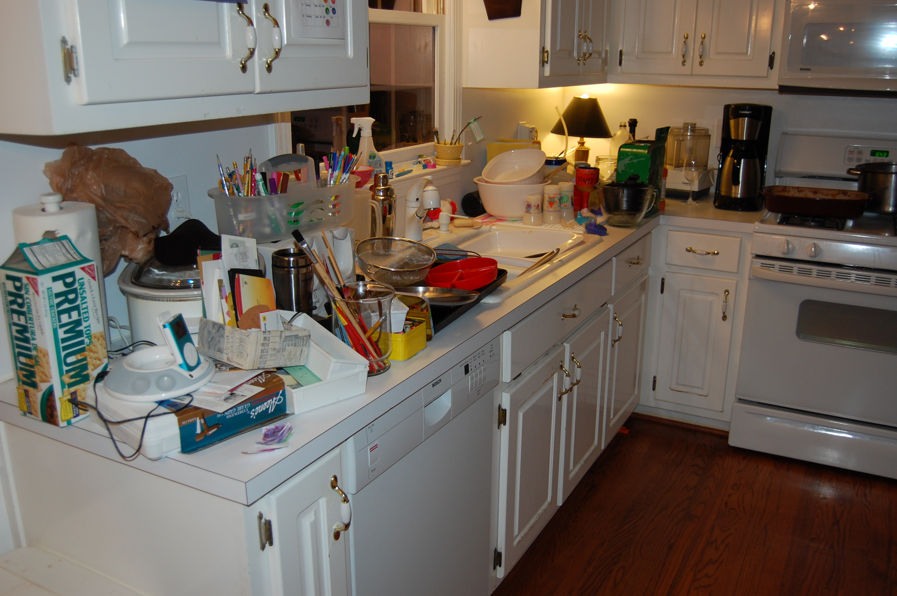 Typical kitchen counter any given day... notice clothes, crafting supplies, dirty dishes, an iPod, food...