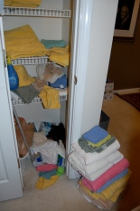 It's hard to put the clean towels away when your linen closet looks like this.