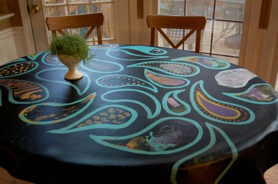 family craft idea: painted table cloth